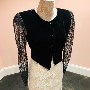 AMAZING vintage velvet lace top/blazer